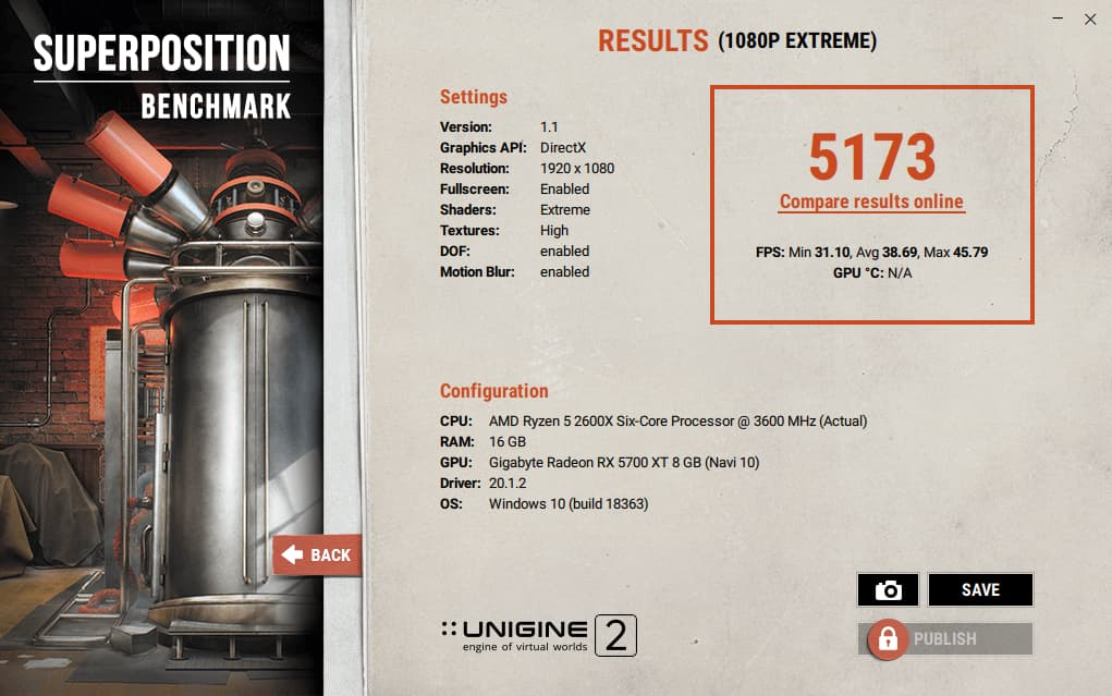 Unigine results for RX 5700 XT with Radeon Pro Software for Enterprise 20.Q1.1