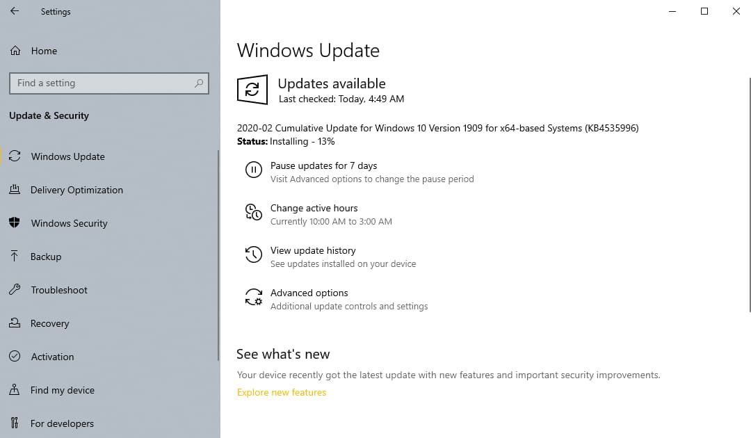 Windows 10 Update For OS Builds 18362.693 and 18363.693