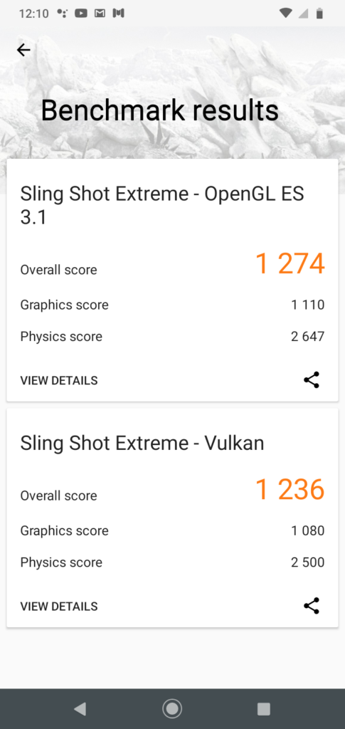 3D Mark Sling Shot Extreme Benchmark Results for Moto G8 Play